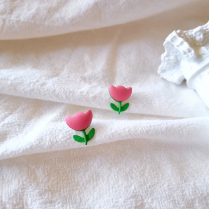S925可爱粉色小花耳钉耳环