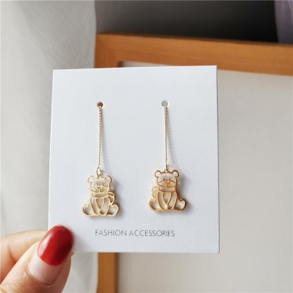 S925可爱镂空金色小熊耳线耳环